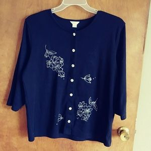 Cj banks 3/4 embroidered sweater XL
